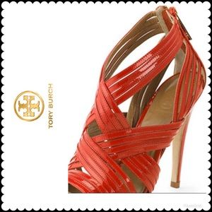 TORY BURCH HEELS LIV CAGED 8.5 RED